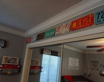 License plate border - 9.00 a foot - License plate chair rail - wall border - kids room border - man cave border