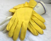 Lilly Dache Sunny Yellow Gloves Cotton Size 7