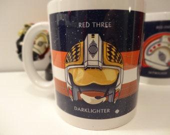 Star Wars Biggs Darklighter X-Wing Pilot Red 3 Helmet 11 oz Mug