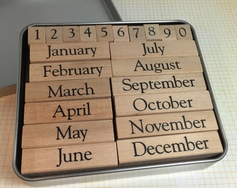 Months Rubber Stamp Set / Date Stamp Rubber Stamps Mounted, NEW for TAGS, Cards, Journals, Altered ARt, MIxed Media, Scrapbooking