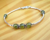 Natural Gemstone Peridot 6mm Round Beads 925 Sterling Antique Silver Bracelet