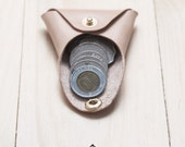 Leather Coin Purse - Coin Case - Origami Design - Premium Italian Full Grain Leather - Nude