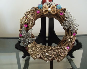 Jewelry Art, Christmas Wreath Made From Vintage Jewelry, Diameter is 6 Inches.