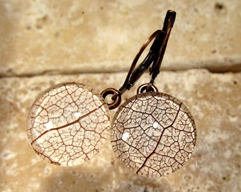 Skeleton Leaf of Salal Circle Glass Earrings, leaf jewellery, woodland, rustic, antique copper, brown, nature, forest, Antique Copper