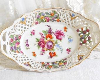 vintage oval serving platter serving dish porcelain dish floral serving plate oval dish floral serving dish lace edge dish Schumann