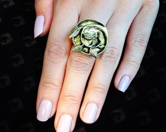 Brass Gold Leaf and Ivy Ring