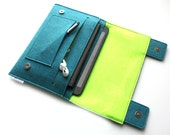 iPad Pro Organiser, iPad Pro Organizer, iPad Pro 9.7 Case, iPad Pro 12.9 Case, iPad Mini, iPad Air, iPad Sleek Case- Teal Blue & Neon Lime