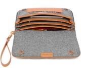 Felt Clutch Purse Cosmetic Bag Handbag Leather Travel Bag Leather Passport Holder Business Card Case Phone Case Storage Bag