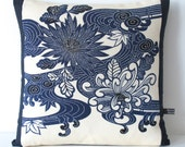 Decorative Pillow Cushion in Cream & Indigo Blue Large Floral Wave Vintage Japanese Kimono Silk + fat feather pad 40x40cm NEW COLLECTION