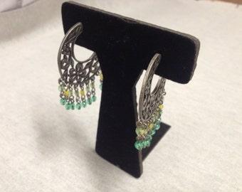 Vintage Silvertone Floral Teal and Yellow Beaded Design Hoop Dangle Earrings