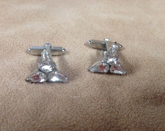 Vintage Silvertone Gemstone Cuff Links