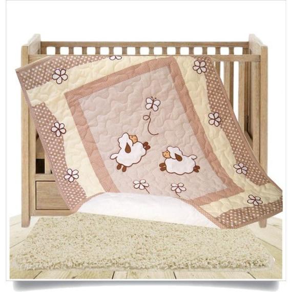 Baby Blanket, Organic Baby Crib Blanket,  Beige Baby  Quilt Blanket