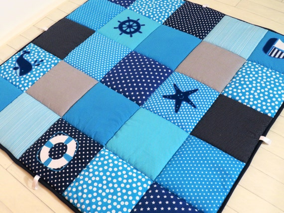 Baby Blanket, Baby Floor Blanket, Baby Play Blanket, Baby Play Mat, Navy and Turquoise