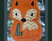 Monogrammed Burlap Fox Christmas Ornament