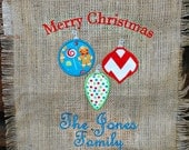 """Monogrammed """"Merry Christmas"""" Burlap Banner with Ornaments"""