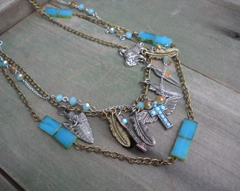 Soutwesten Charm Necklace/Soutwest/Turquoise/Multi Strand/Mixed Metal/Hippie/Boho