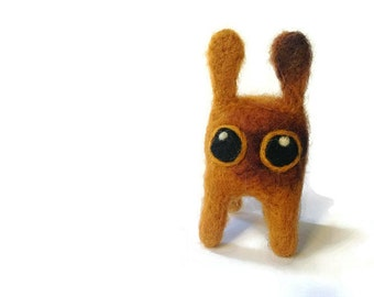 Miniature Miyazaki Style Sculpture, Needle Felted Ochre Flump Soft Sculpture