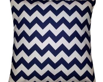 "Cushion Cover in Riley Blake Navy Chevron Stripe 14"" 16"" 18"" 20"""