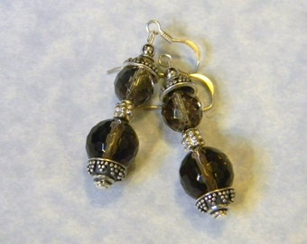 Faceted Smoky Quartz and Bali Bead Drop Earrings