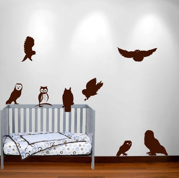 Owl wall decal nursery sticker hunting bird wood set birch for Bird and owl tree wall mural set