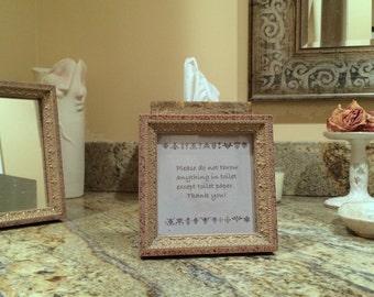 Granite look septic sign for vanity top/ bathroom rules