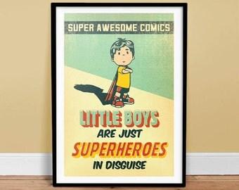 Little Boys are Superheroes - Vintage Poster - Retro Art Print