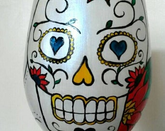 Personalised  mexican day of the dead wine glass