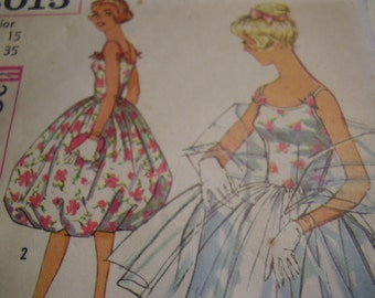 Vintage 1960's Simplicity 3015 Party Dress and Stole Sewing Pattern, Size 15, Bust 35