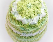 Hat: Pure Cotton Spring Greens and White Spiral Flower and Cable; Chemo Cap; Spring Hat; Hand Knitted