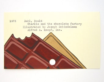 Charlie and the Chocolate Factory Library Card Art - Print of My Painting
