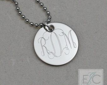 "vine monogram engraved necklace, .625"" pendant"