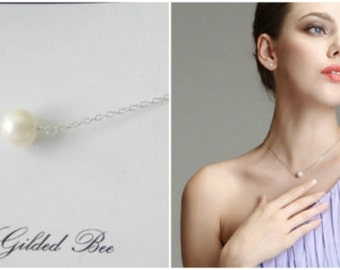 Simple Pearl Necklace.gold filled,sterling silver,minimalist jewelry,bridesmaids,everyday.