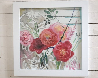 Gray and Pink Damask Bouquet-- original art in frame