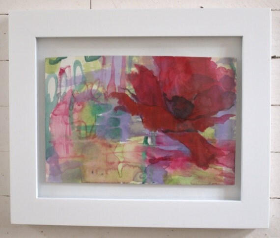 Lavender Field with Red Poppy-- original art in frame