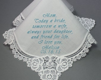 Embroidered Wedding Handkerchiefs Personalized Mother of the Bride (#6221)