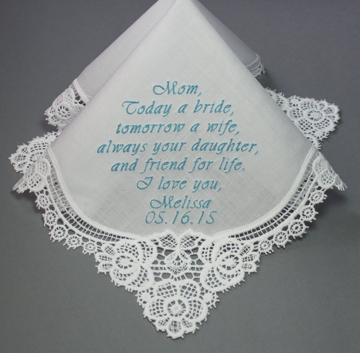 Embroidered Wedding Handkerchiefs Personalized Mother By Sophieli