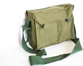 Vintage Military Bag 1980's, Green Cotton Canvas Messenger Bag, Crossbody Bag, iPad Bag, Unisex bag