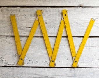Vintage Carpenter's Wooden Folding Ruler, Metric Folding Ruler, Vintage Extension Ruler, Measuring Tool