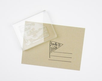 Kindly Deliver To Pennant with Lines Stamp - kindly deliver to - snail mail stamp - rubber stamp - addressing stamp - pennant stamp - K0042