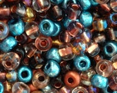 100pcs-4mm blue turquoise color pearl seed beads, golden brown pearls, glass brown mix color Czech glass seed beads