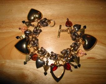 Love Triangle OOAK Charm Bracelet by Kay Creatives