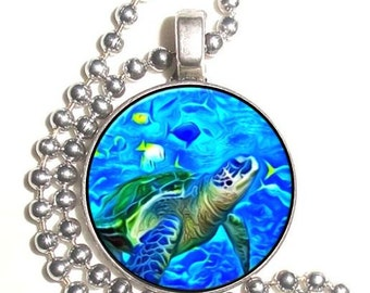 Marine Turtle & Fish Art Photo Silver Pendant, Undersea Resin Picture Nickel Coin Charm, Ball Chain Necklace