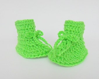 Bright Lime  Green Baby Booties 3 To 6 Months Infant Boy Slippers Girl  Crib Shoes