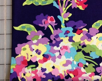 1 yard Amy Butler Love - Water Bouquet in Midnight AB51- Very Dark Blue/Purple with water color flower bouquet