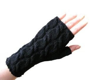 Merino fingerless gloves wrist warmers black
