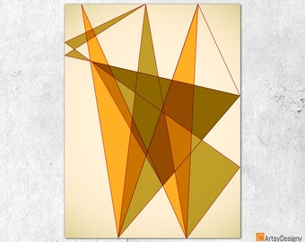 Mid Century Modern Art - Triangles 3 - Abstract Contemporary Giclée Gallery Quality Art Print - Small Medium Large Home Decor Art Prints