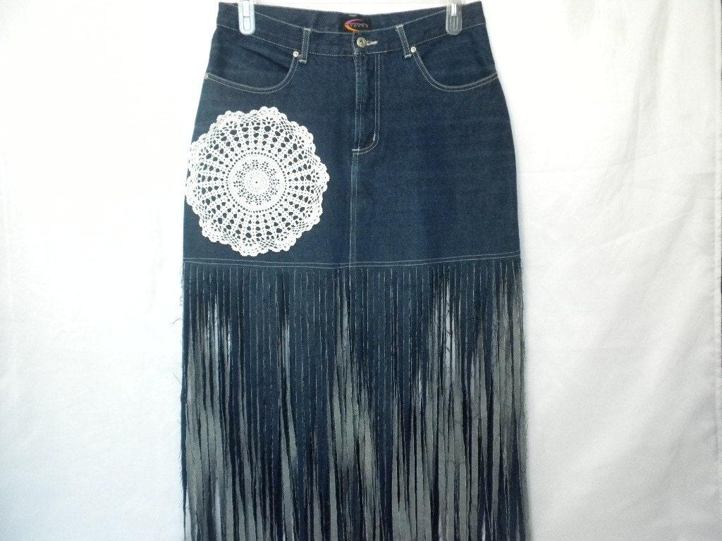 Upcycled Long Maxi Fringe Denim Jean Skirt Crochet Doily