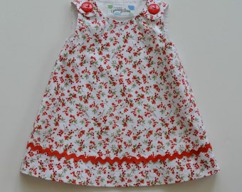 A-line dress, jumper dress, toddler dress, infant jumper, back to preschool, red and white dress, picture day, fully lined  Sizes 6- 24 mo.