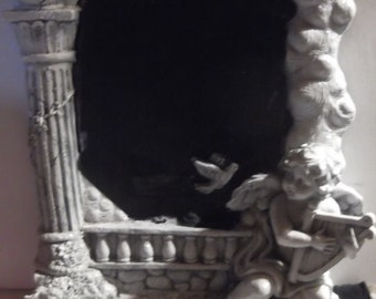 Shabby Chic chalkboard cherub and harp  heavy, beautiful, ornate