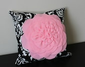 Decorative Throw Pillow Cover, Light Pink Rose Pillow Cover, Accent Pillow, Sofa Pillow, 14x14,16x16, Bedroom Pillow, Toss Pillow